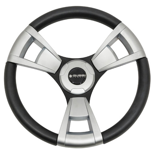 "Gussi Italia Model 13 Black/Brushed 14"" Steering Wheel   Yamaha Golf Cart"