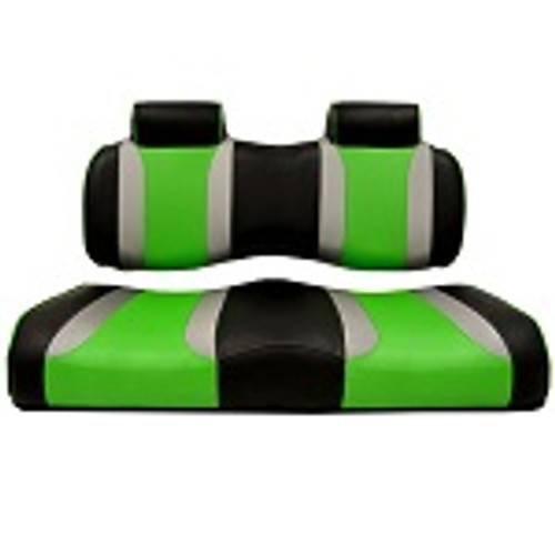 Club Car Precedent 2004-2011 | Madjax Tsunami Seat Cushions Black Silver Green