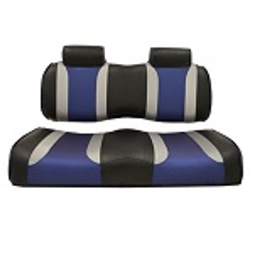 Club Car Precedent 2004-2011 | Madjax Tsunami Seat Cushions Black Silver Blue