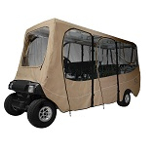 """Deluxe Golf Cart Enclosure Cover 6 Six Person for Roofs up to 124"""" Long   Khaki"""