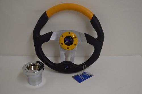 "13"" Black / Yellow Steering Wheel | Club Car DS Golf Cart | Chrome"