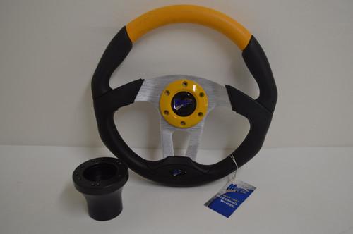 "13"" Black / Yellow Steering Wheel | Club Car DS Golf Cart | Black"