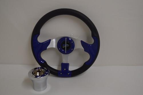 "13"" Blue Razor Steering Wheel | Club Car DS Golf Cart | Chrome"