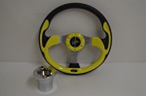 "13"" Yellow Ultra Steering Wheel   EZGO Golf Cart   Chrome"