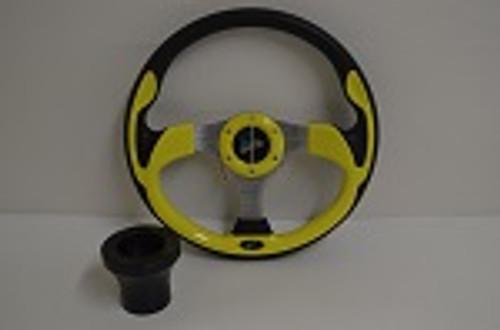 "13"" Yellow Ultra Steering Wheel   EZGO Golf Cart   Black"