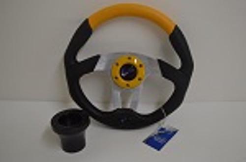 "13"" Black / Yellow Steering Wheel | Yamaha Golf Cart 1996-Up | Black"