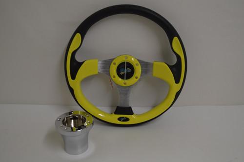 "13"" Yellow Ultra Steering Wheel | Yamaha Golf Cart 1996-Up | Chrome"