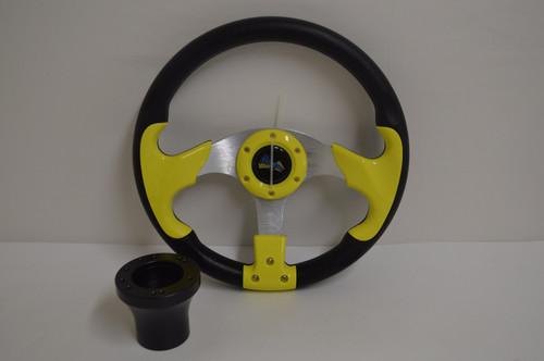 "13"" Yellow / Black Razor Steering Wheel | Yamaha Golf Cart 1996-Up | Black"