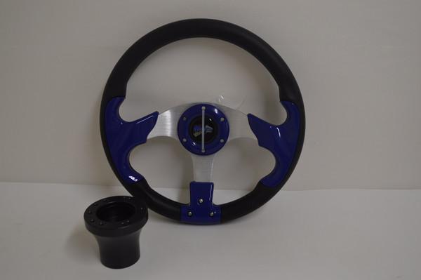 "13"" Blue Razor Steering Wheel | Yamaha Golf Cart 1996-Up | Black"