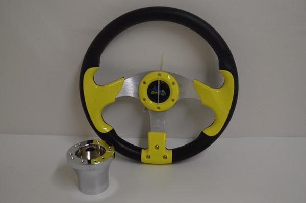 "13"" Yellow / Black Razor Steering Wheel | Yamaha Golf Cart 1996-Up | Chrome"