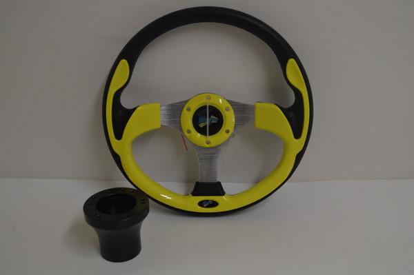 "13"" Yellow Ultra Steering Wheel | Yamaha Golf Cart 1996-Up | Black"