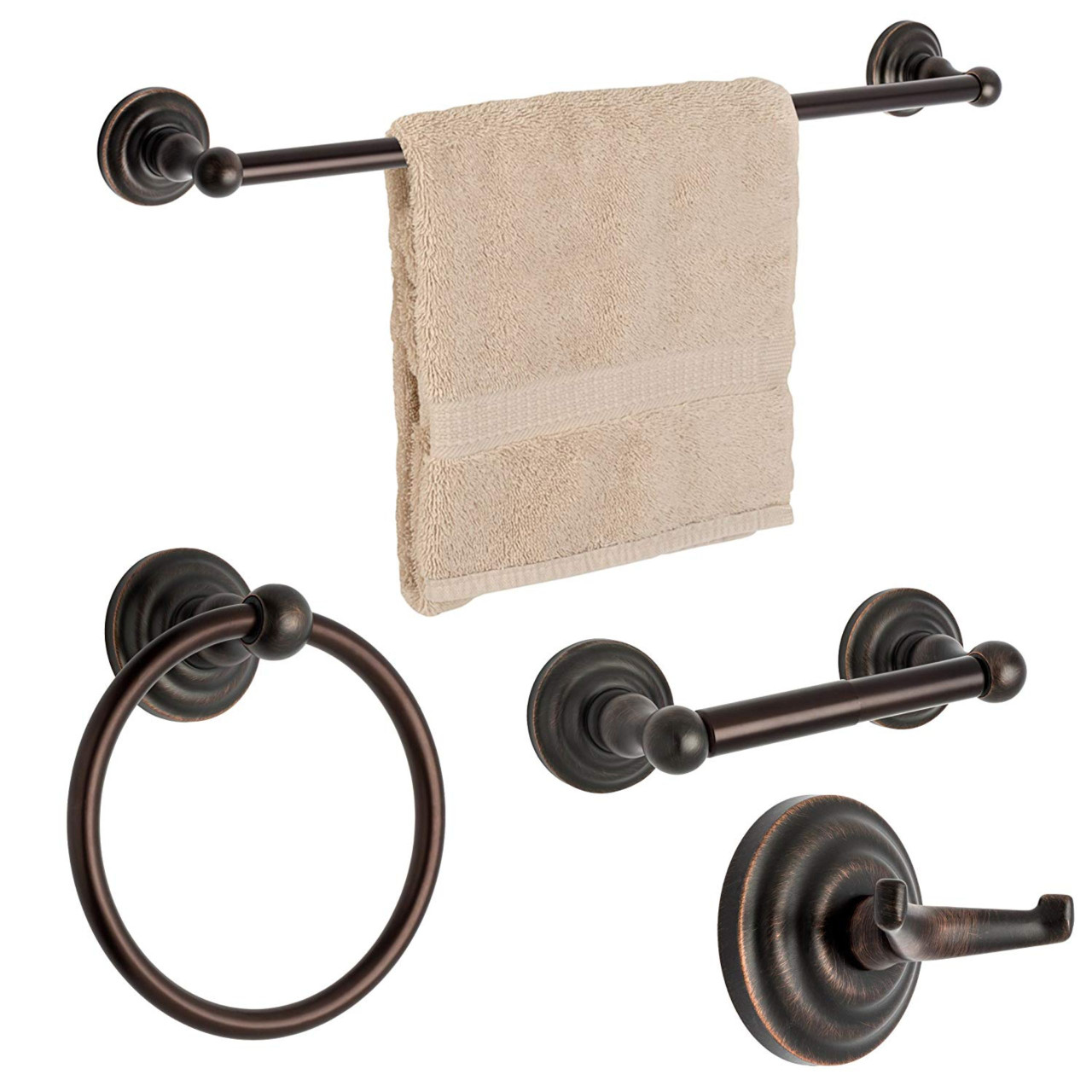 "Oil Rubbed Bronze 4 PC Bath Hardware 24/"" Towel Bar and Toilet Paper Holder Set"