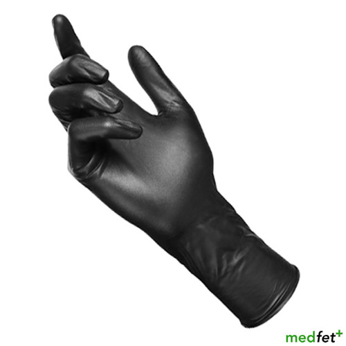 Black Latex Gloves - Long Cuff