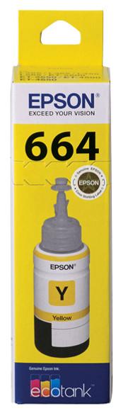 Epson T664 Yellow Ink Bottle for EcoTank ET-4550, ET-4500, ET-2550, ET-2500, ET-2650, ET-16500, ET-3600, ET-2610