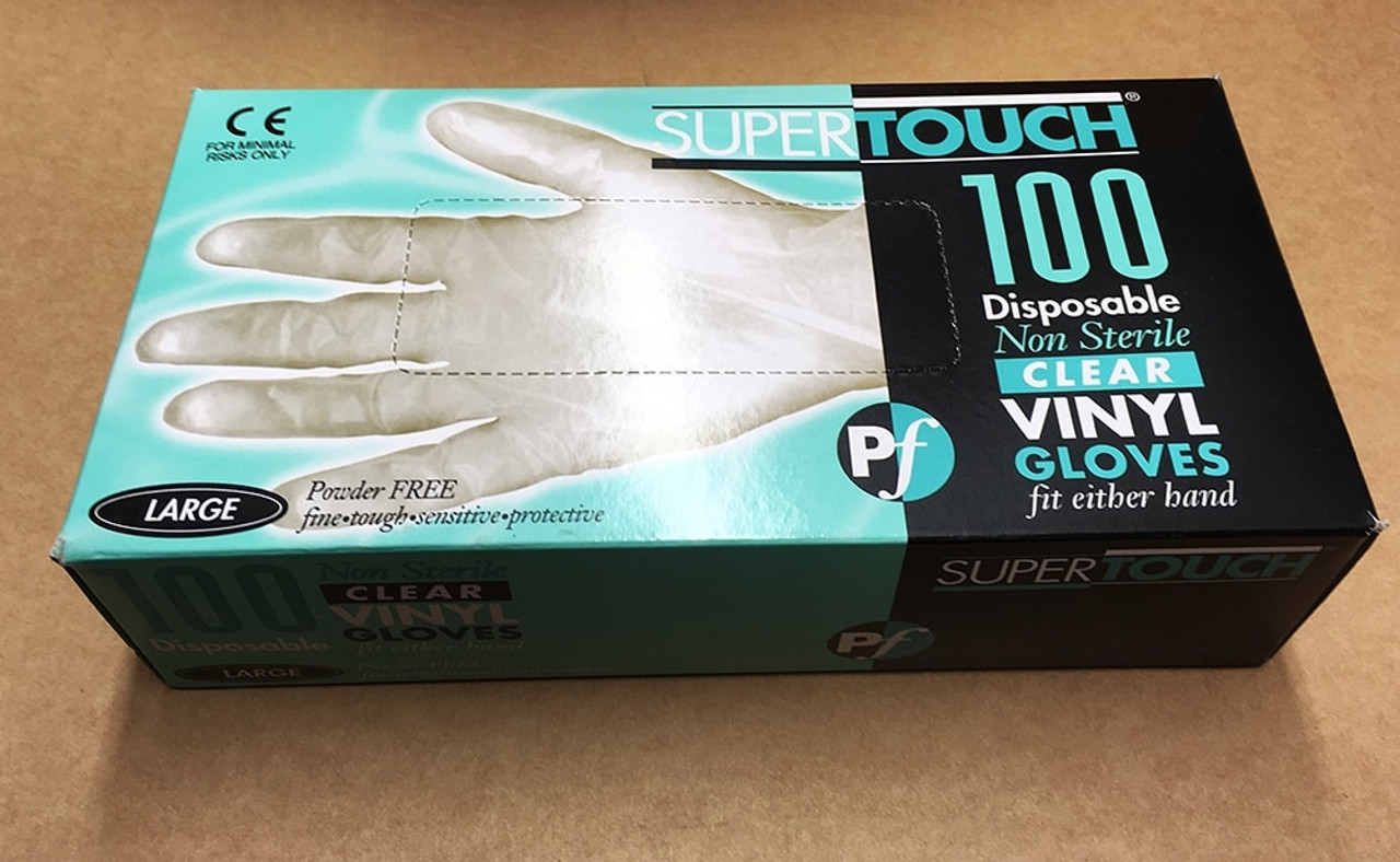 Box Supertouch Disposable Non Sterile Vinyl Gloves Clear