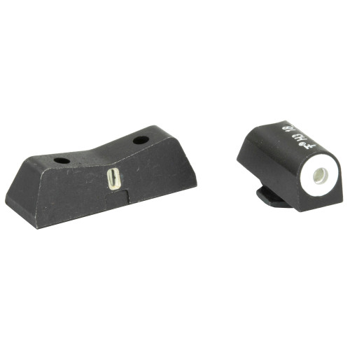 XS Sights, DXT Big Dot Tritium Front, White Stripe Express Rear, Fits Glock 42/43, Green with White Outline