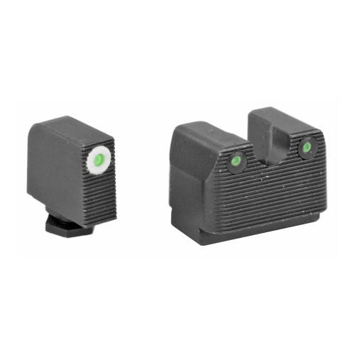 Rival Arms, Tritium 3 Dot Front/Rear Green Night Sight For Glock MOS 17/19, White Front Sight Ring, Black Nitride Quench-Polish-Quench (QPQ) Finish