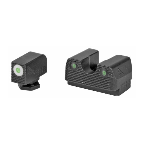 Rival Arms, Tritium 3 Dot Front/Rear Green Night Sight For Glock 17/19, White Front Sight Ring, Black Nitride Quench-Polish-Quench (QPQ) Finish
