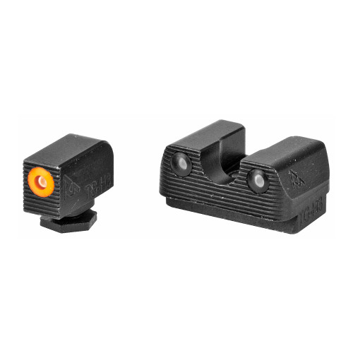 Rival Arms, Tritium 3 Dot Front/Rear Green Night Sight For Glock 17/19, Orange Front Sight Ring, Black Nitride Quench-Polish-Quench (QPQ) Finish