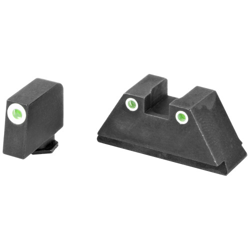 AmeriGlo, Tall Suppressor Series, 3 Dot Sights for All Glocks, Green with White Outline, Front and Rear Sights