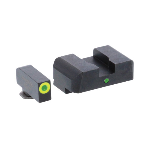 AmeriGlo, Pro I-Dot 2 Dot Sights for Glock 17,19,22,23,24,26,27,33,34,35,37,38,39, Green/Green, Front and Rear Sights