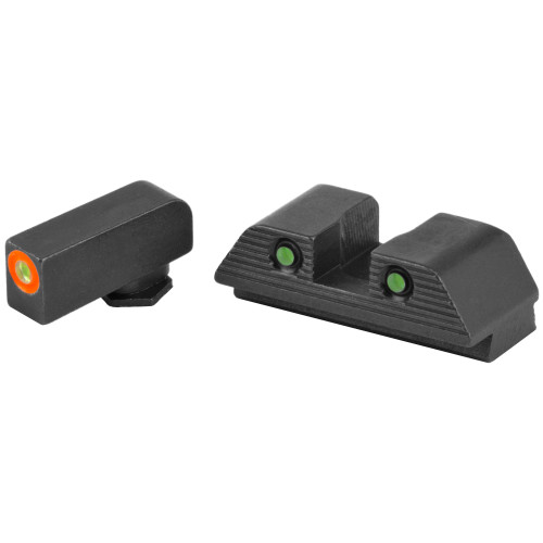 AmeriGlo, Trooper, Sight, Fits Glock Gen5 17,19, Green Tritium with Orange Outline Front, Green Tritium Black Serrated Rear