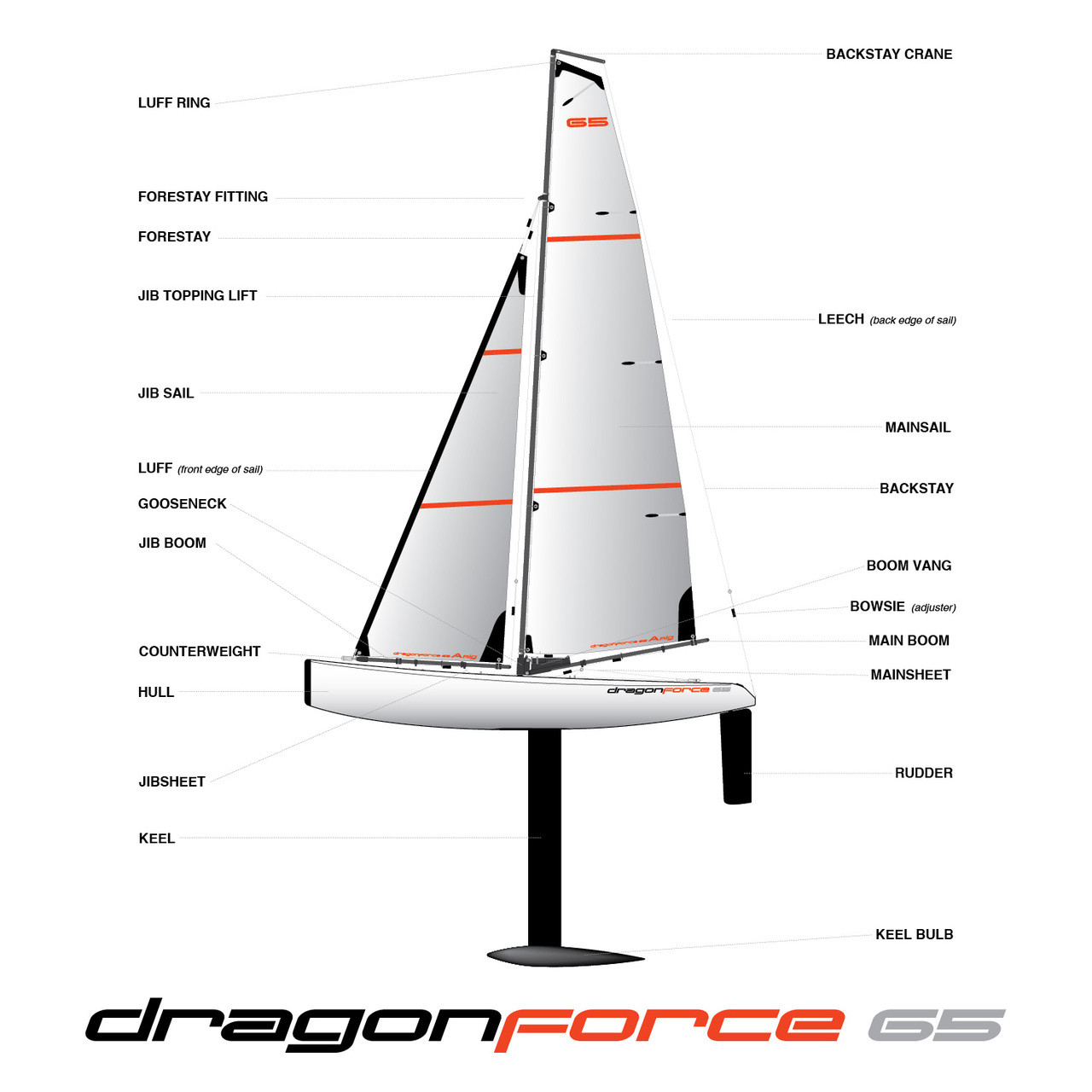 DragonForce 65 DF65 Class RC Sailboat 650mm