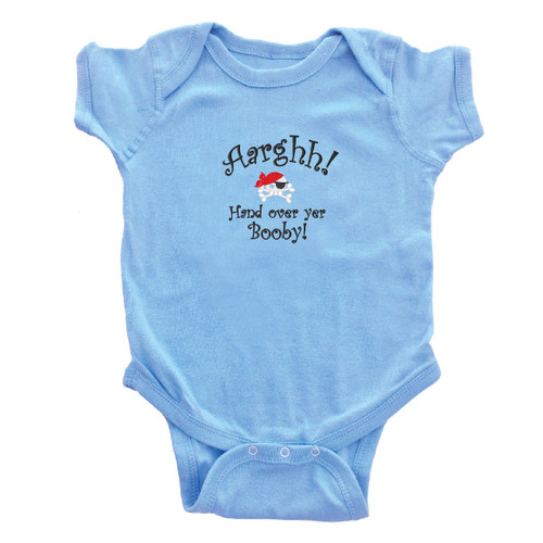 """Hand Over Yer Booby"" Infant Baby Rib Onesie Light Blue"