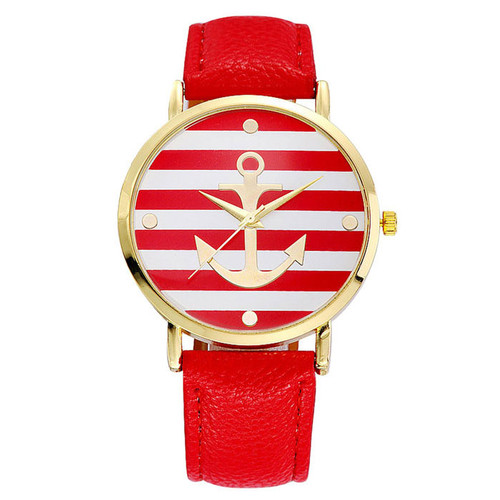 Women's Geneva Anchor Watch (Red & White)