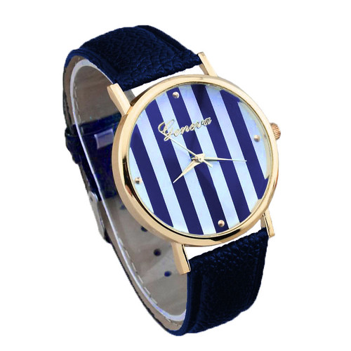Women's Geneva Nautical Stripe Watch (Blue & White, Navy Band)