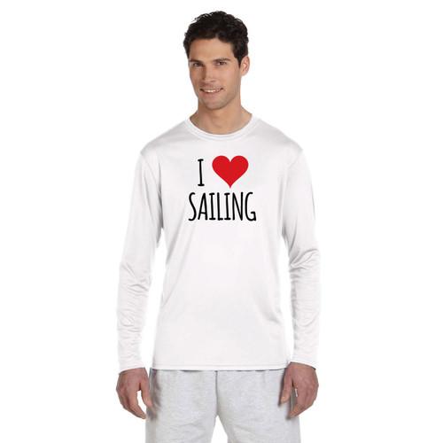 I Love Sailing Men's UPF 50+ Wicking Shirt (Customizable)