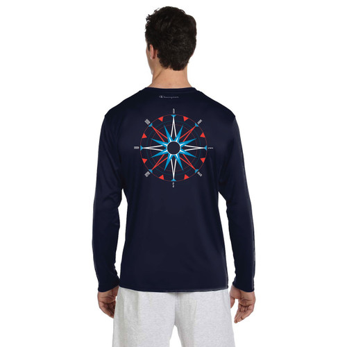 American Sailing Association Compass Rose UPF 50+ Wicking Shirt (Navy)