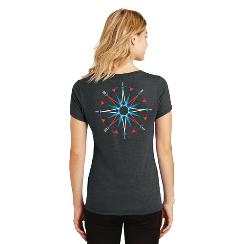 American Sailing Association Compass Rose Women's V-Neck Tri-Blend Cotton T-Shirt