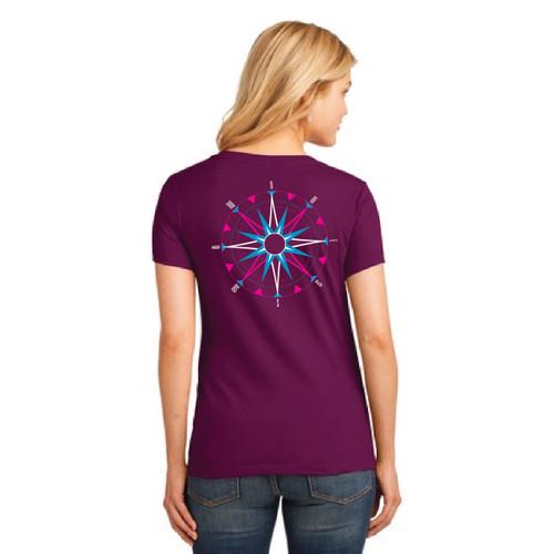 American Sailing Association Compass Rose V-Neck Cotton T-Shirt