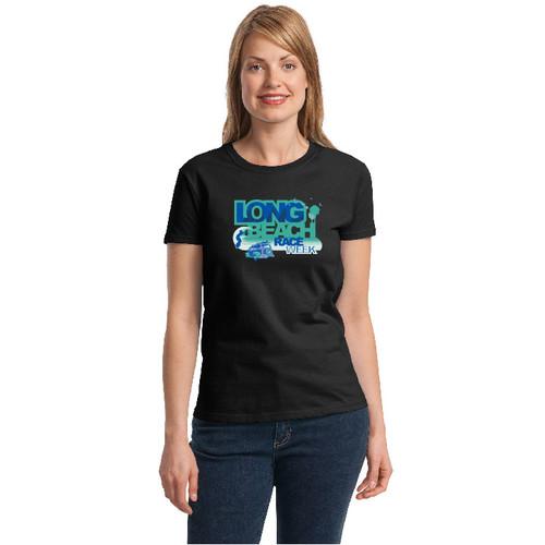 Long Beach Race Week Women's Cotton T-Shirt Black