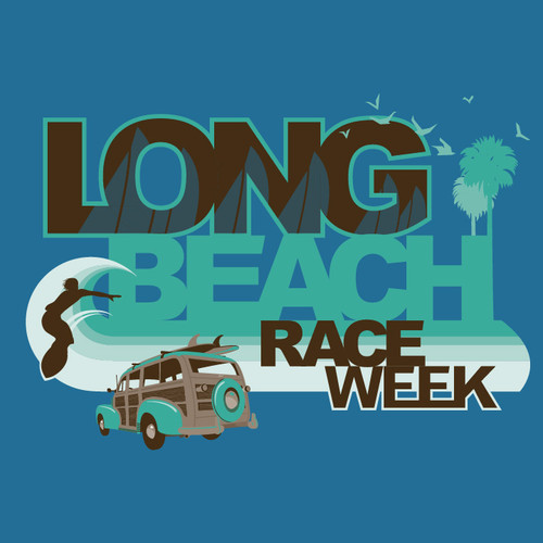 CLOSEOUT! Long Beach Race Week Women's Cotton T-Shirt (Antique Sapphire)