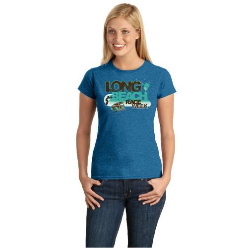 Long Beach Race Week Women's Cotton T-Shirt (Antique Sapphire)
