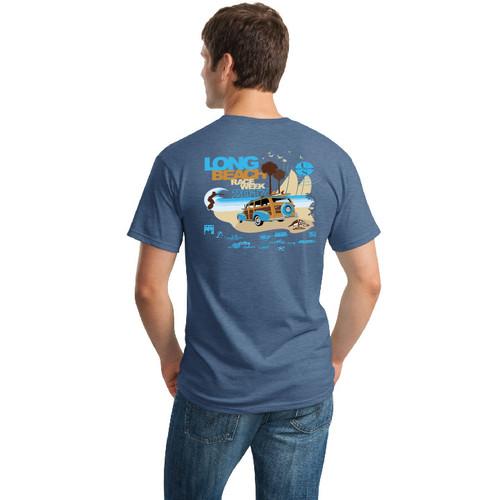 Long Beach Race Week 2017 Cotton T-Shirt ( Heathered Indigo)