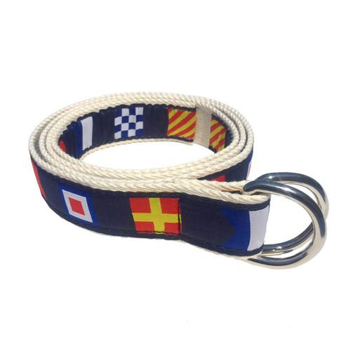 Nautical Code Flag D-Ring Sailing Belt