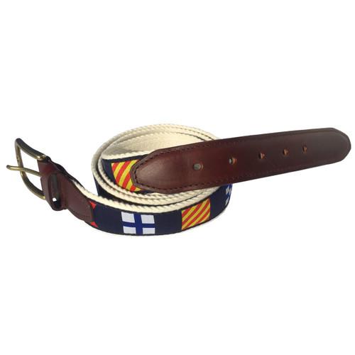 Nautical Code Flag Premium Leather Belt