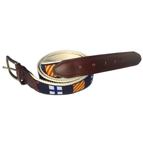 Nautical Code Flag Premium Leather Belt