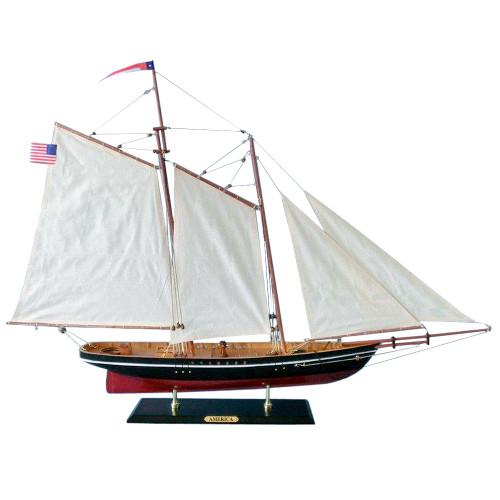 America Handmade Wooden Model Sailboat 1:38 Scale