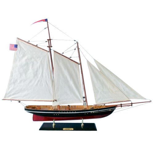 America Handmade Wooden Model Sailboat 1:38 Scale