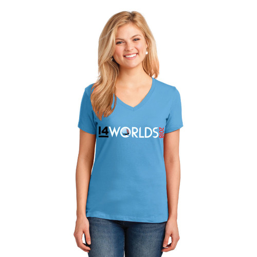 I14 World Championships 2018 Women's V-Neck Cotton T-Shirt