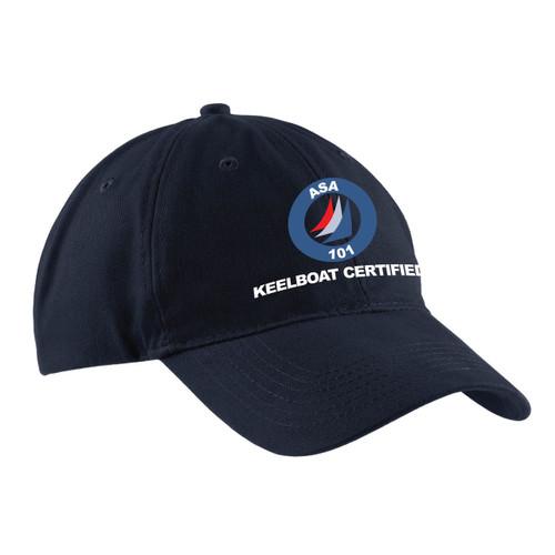 American Sailing Association 101 Keelboat Certified Cotton Cap Navy (Customizable)