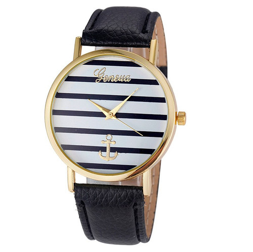 Women's Geneva Anchor Watch (Black & White, Black Band)
