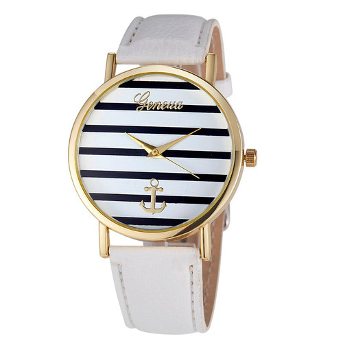 Women's Geneva Anchor Watch (Black & White, White Band)