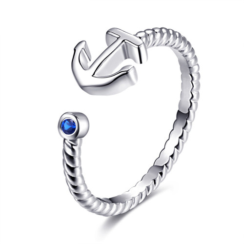 Silver Ring with Anchor and Sapphire (one size fits all)