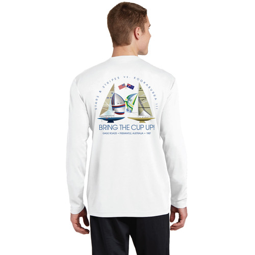 """Dennis Conner Stars & Stripes '87 """"Bring the Cup Up!"""" Men's Long Sleeve Wicking Shirt (Customizable)"""
