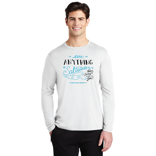 """The Cure for Anything is Saltwater"" Men's UPF 50+  Wicking Shirt by ASA (Customizable)"